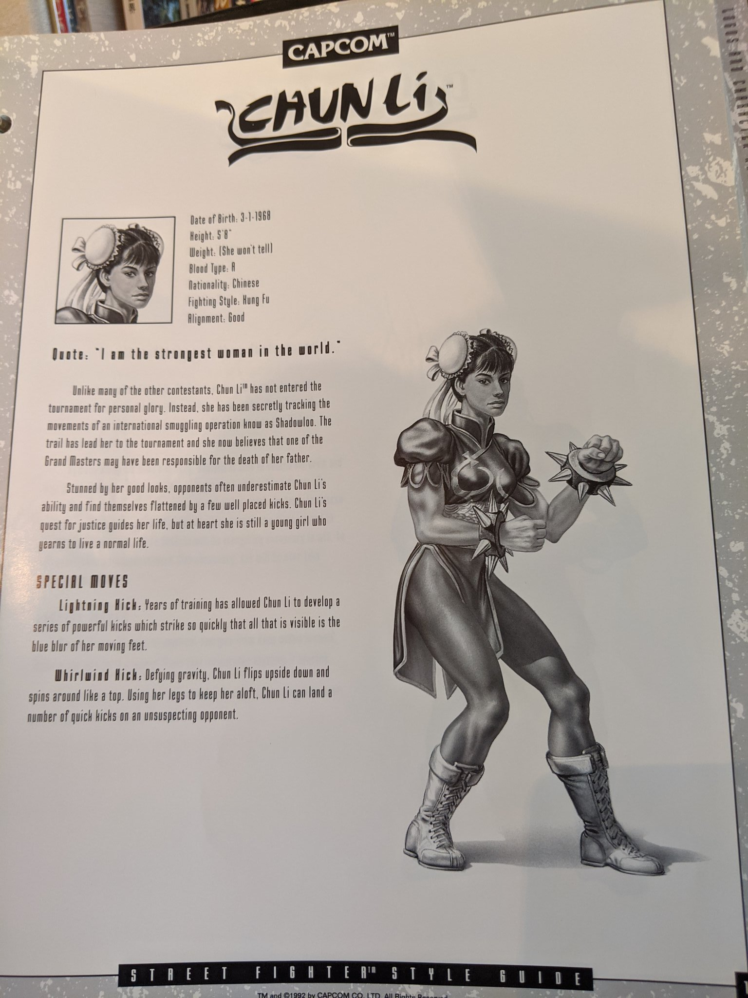 Street Fighter 2 North American Manual Art Bios