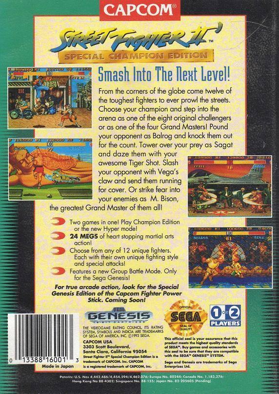 Street Fighter 2 Champion Edition Poster Box Art