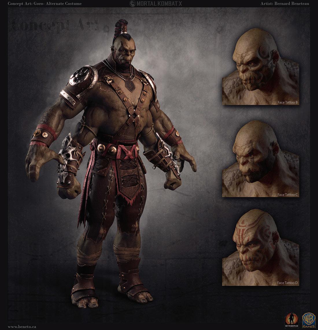 Character Design Mortal Kombat : Goro mortal kombat